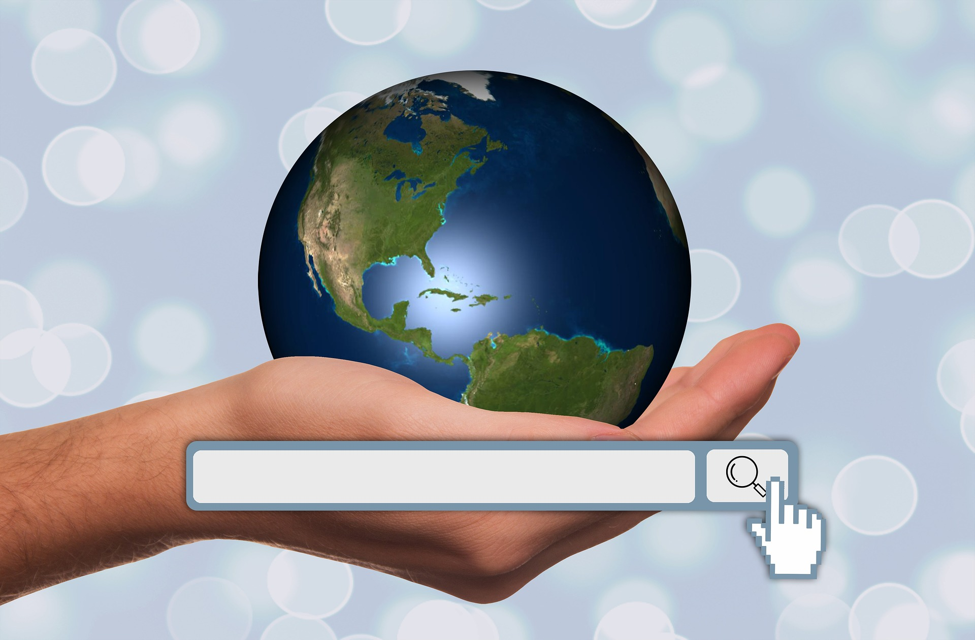 hand globe search box